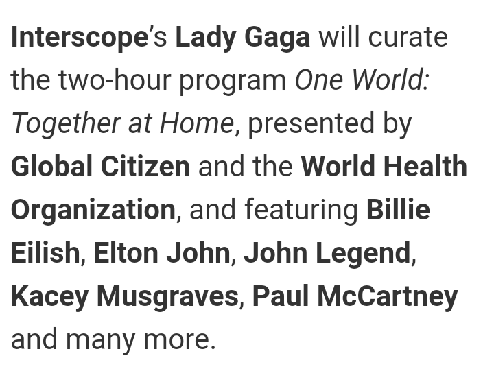 THE POWER THIS WOMAN HAS  GLOBAL CITIZEN, ABC, ELTON JOHN, YAHOO, NBC, TIDAL, PAUL MCCARTNEY, CBS, YOUTUBE, AMAZON, #WHO, PEPSI, STEVIE WONDER, TWITTER, ALIBABA, KACEY MUSGRAVES, MTV, IHEARTRADIO, APPLE, BILLIE EILISH, BBC MUSIC, TWITCH, GREEN DAY, COLDPLAY & MORE! <br>http://pic.twitter.com/OgnVWI3Dom