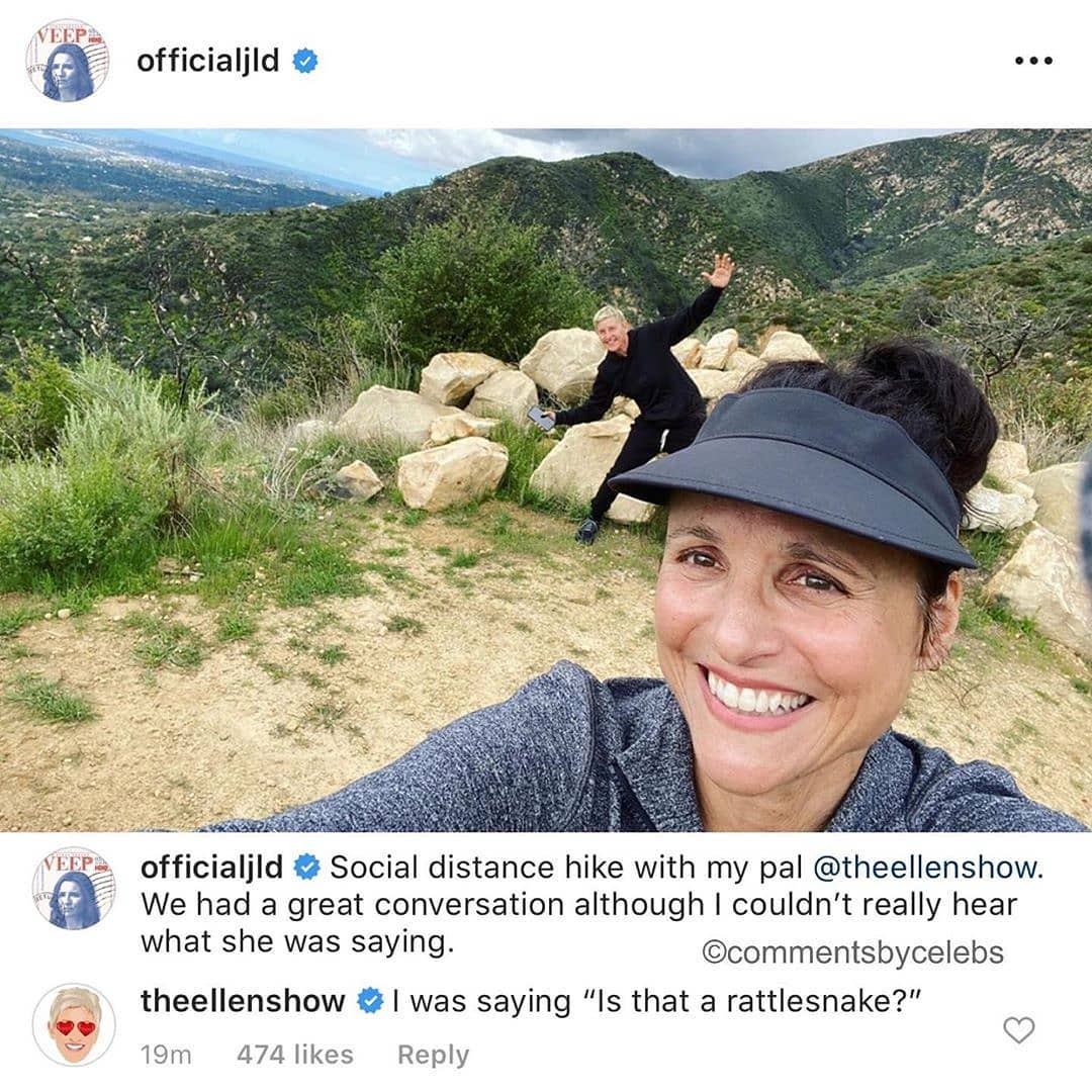 @OfficialJLD /IG Social distance hike with my pal @theellenshow. We had a great conversation although I couldn't really hear what she was saying.  (Photo: @OfficialJLD ,commentsbycelebs) #ellendegeneres #ellen #theellenshow #ellenshowpic.twitter.com/hIOXY4dbDI