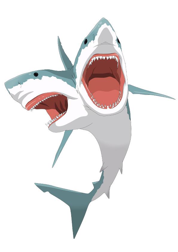 RTの数だけサメの頭を増やし、いいねの数で眼玉が増え、リプライの数だけヒレが増えるサメです 暇つぶしにご協力ください