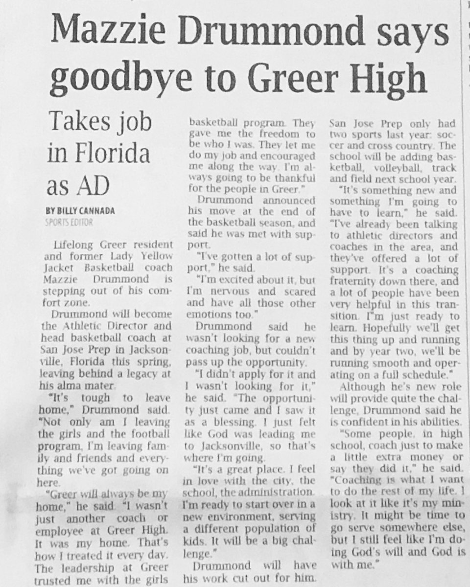 One last article in the Greer Citizen.. I've been cutting out articles in GC since 1996.  Thank you Billy Canada for always supporting me and my squad.. #Jacket4Life pic.twitter.com/LEaxMVMYYO