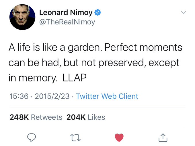Happy birthday to Leonard Nimoy! LLAP