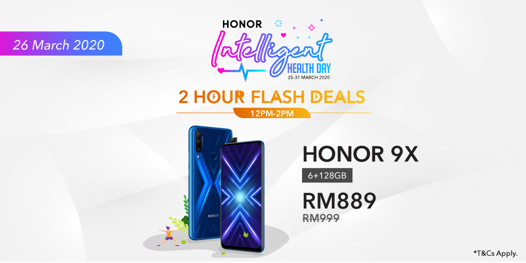 Get the #HONOR9X at just RM889 during #HONORIntelligentHealthsale today from 12pm to 2pm! Flash deal price 👉https://t.co/WFpIWfFcTl https://t.co/sNrX5neGMP
