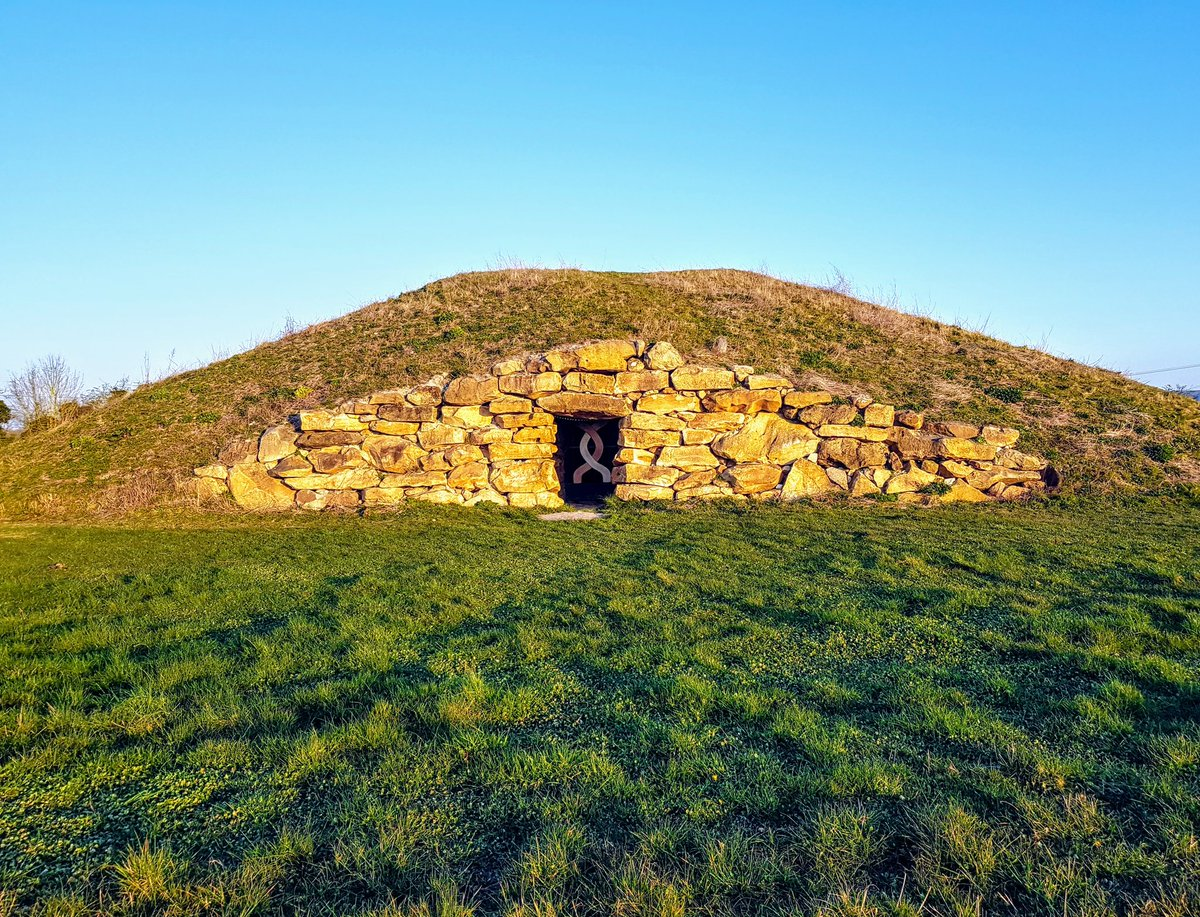 #sarsen facade of the Long Barrow at All Cannings this morning, with the double helix gate.