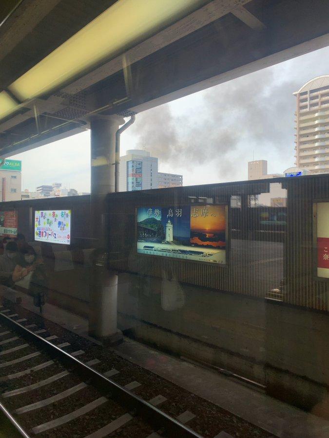 布施駅北の建物の火災現場の画像
