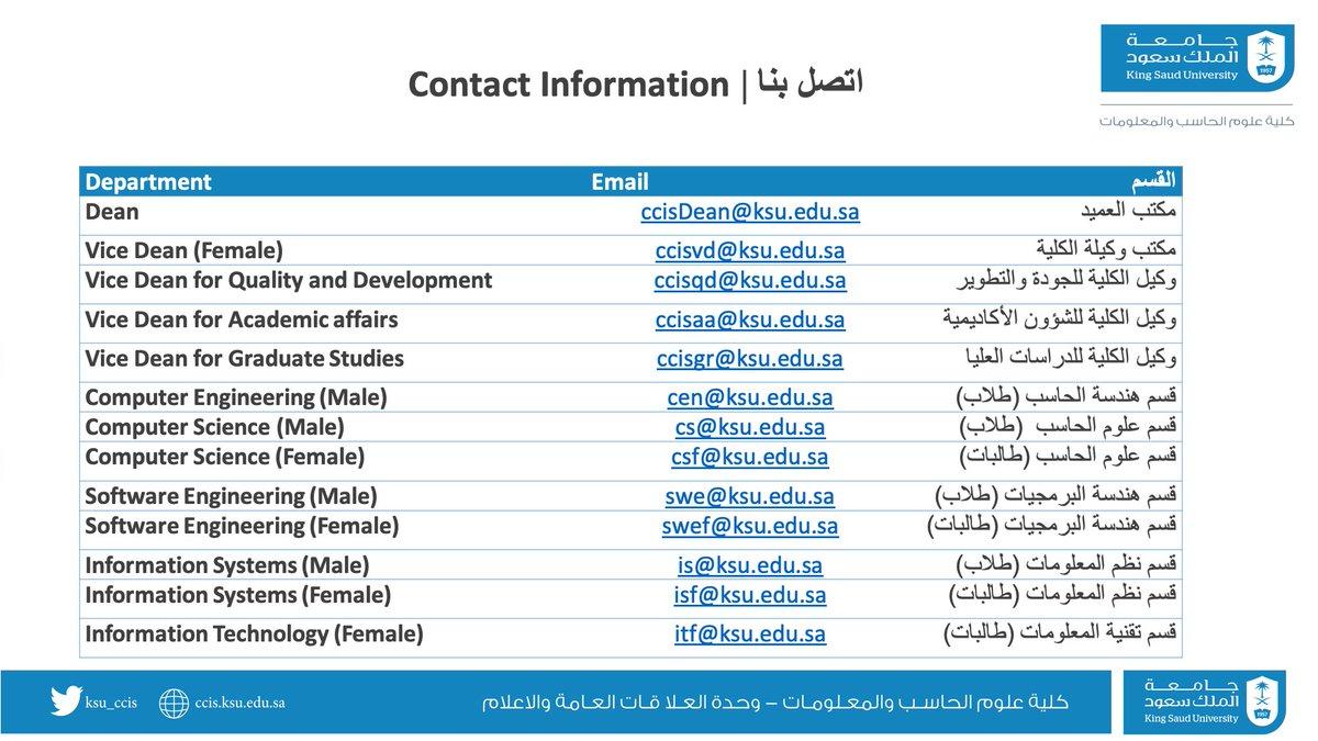 كلية علوم الحاسب والمعلومات Ksu Ccis Twitter