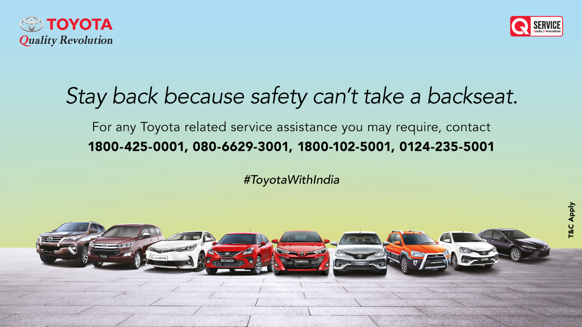 In these difficult times, safety is imperative. While you stay in and care for your family and yourself, we will put in our best to support your queries and concerns. In case your warranty is expiring during these difficult times, it shall be suitably extended. #ToyotaWithIndia https://t.co/pJV28gcmiG