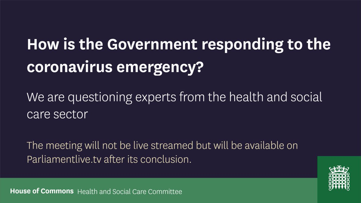 #Coronavirus : our Deputy Chief Executive @SJPickup  is giving evidence to @CommonsHealth  this morning, alongside our partners from  @PHE_uk  @CareEngland  @1adass   @TheBMA   This first ever virtual select committee hearing wont be streamed live, but will be available later today.