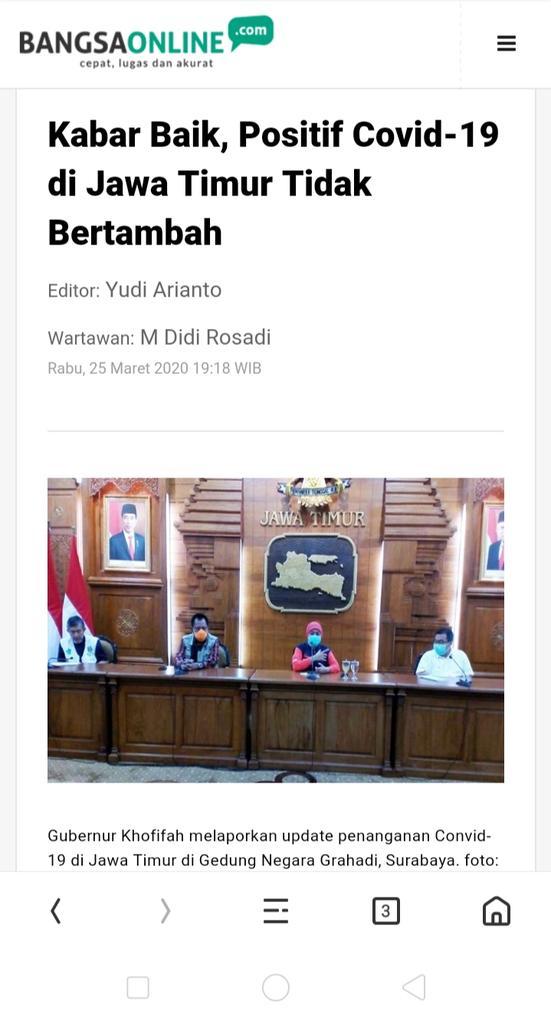 Alhamdulillah.. Kabar baik jawatimur berita kemaren sampe jam 16:20 hari ini yg positif covid-19 tdk bertambah. Yg jd PR eksodus ODP dari Jabar, DKI. Smg DKI, Jabar, Tanggerang tdk bertambah. Semangat Jatim!! Bu Gub hebat.. Bu walkot hebat!! Semangat Indonesia!! pic.twitter.com/ZfBylgw9PL