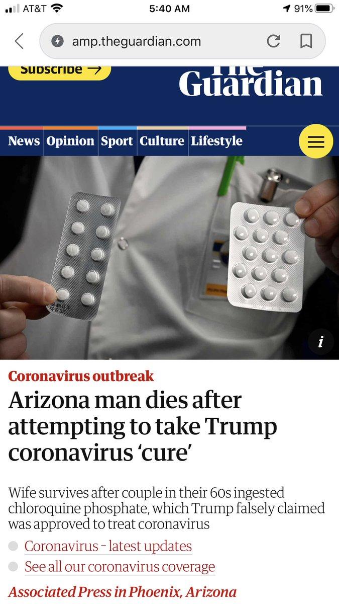 https://amp.theguardian.com/world/2020/mar/24/coronavirus-cure-kills-man-after-trump-touts-chloroquine-phosphate…   #TrumpMadness #TrumpVirus #TrumptheWorstPresidentEVER #trumphaters #trump #dontvotetrump #COVID2019 #Trump2020 #USA #TrumpVirusCoverup #trumplovers #Coronapic.twitter.com/4LL2fYQMPa