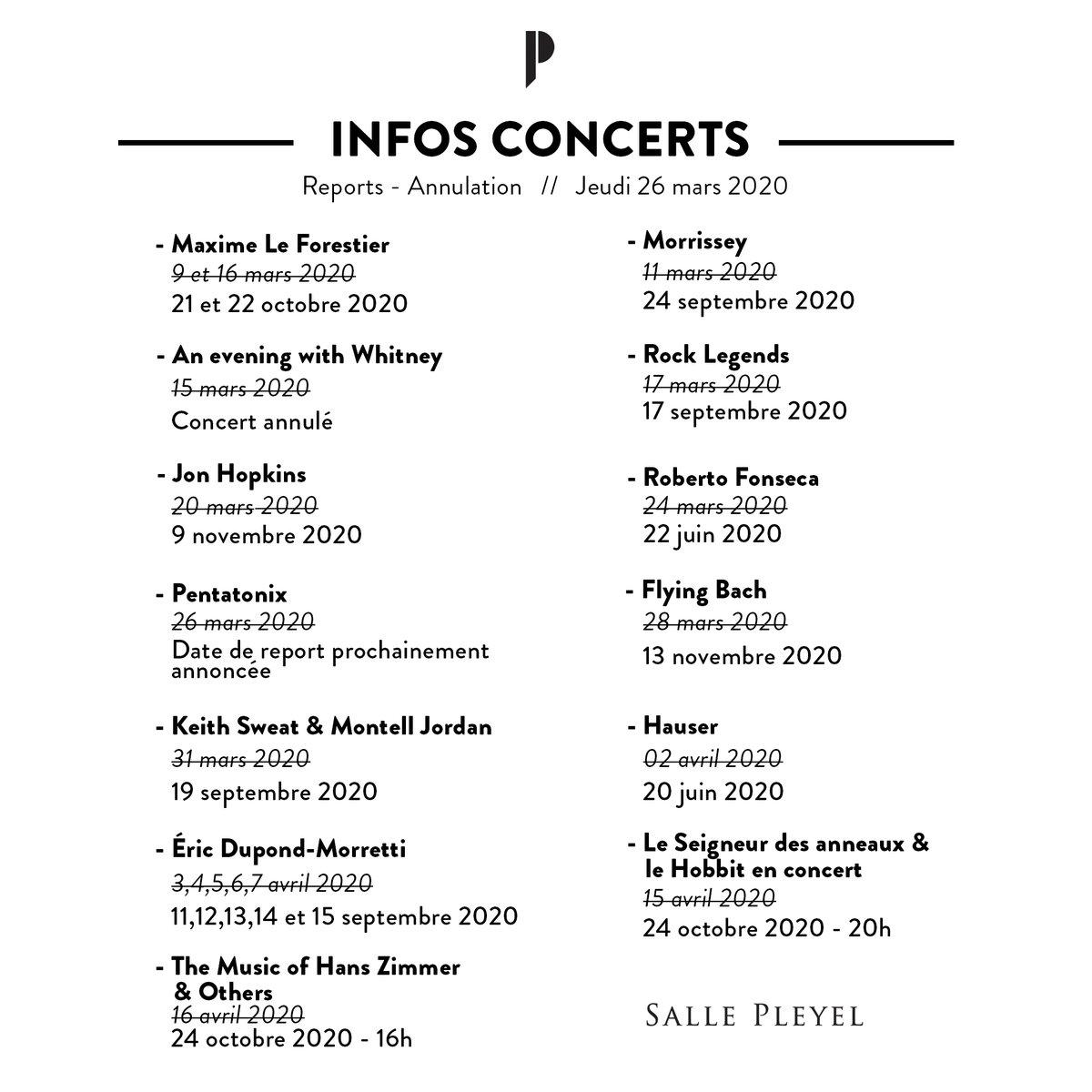 ⚠️ INFOS CONCERTS ⚠️ - MISE À JOUR 26/03/20 Retrouvez toutes les informations concernant les reports/annulations des concerts prévus à la Salle Pleyel jusqu'au 16 avril 2020. Nous vous tiendrons infor