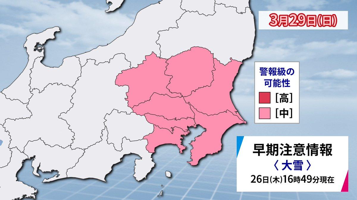 【まさか】29日に東京を含む関東で #大雪警報 の可能性  東京地方などでは、29日は雪より雨の可能性が高いものの、気温の予報が下振れするシナリオも否定できず、その場合は大雪になるおそれがあることを想定して気象庁は関東で警報級の大雪の可能性があると発表したとみられます