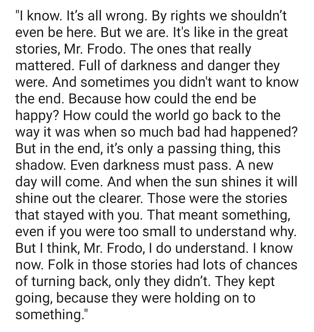 I feel like all the front line responders to COVID-19 and the 2nd line supporting them are like Frodo and Sam. This is a reminder for myself & for others.  God bless you all - doctors, nurses, hospital admin and facilitiesstaff, cops, soldiers, volunteers etc.  #WeAreAllFighters https://t.co/DxkNuIAOIU