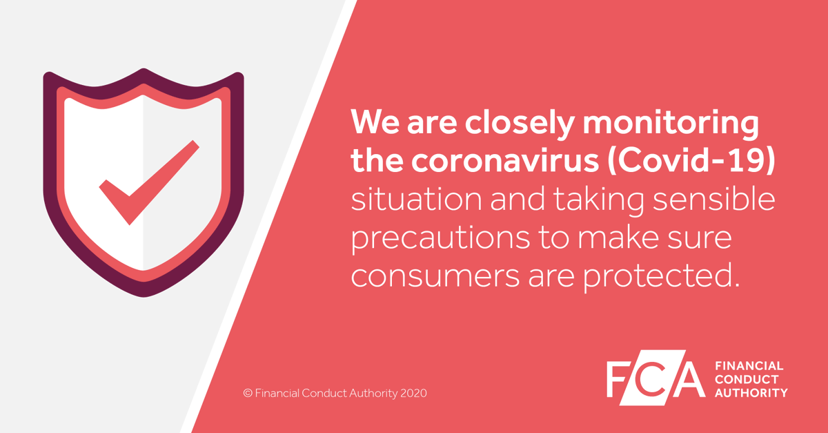 We stand ready to take any steps necessary to ensure consumers are protected and markets continue to function well. Read our #coronavirus information for firms https://t.co/sQ70NRz5K3 #coronavirusuk #COVID19 #FCAupdate https://t.co/fHv6NXn3MP