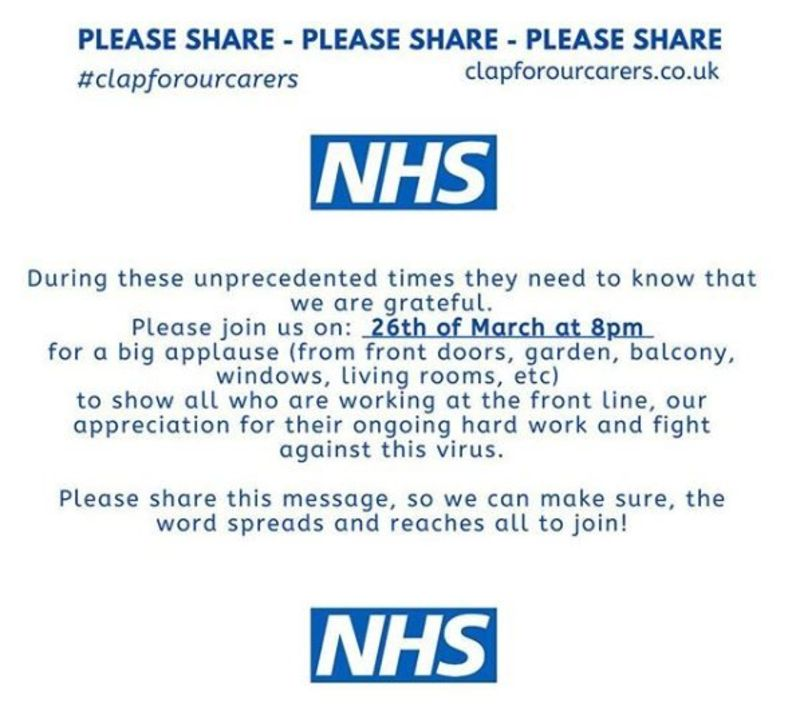 Please join us in tonights #ClapForCarers  to thank everyone, NHS and beyond, who are doing such a fantastic job