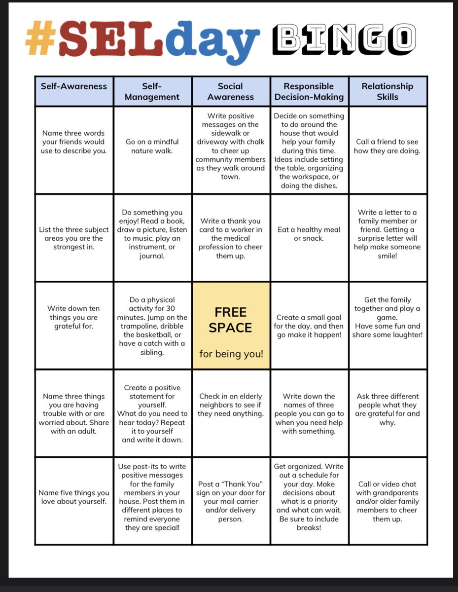 Looking for something to do tomorrow during #SELDay? Try SELday BINGO! #RISDlovesSEL #RISDSEL