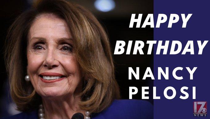 Happy 80th birthday to House Speaker Nancy Pelosi.