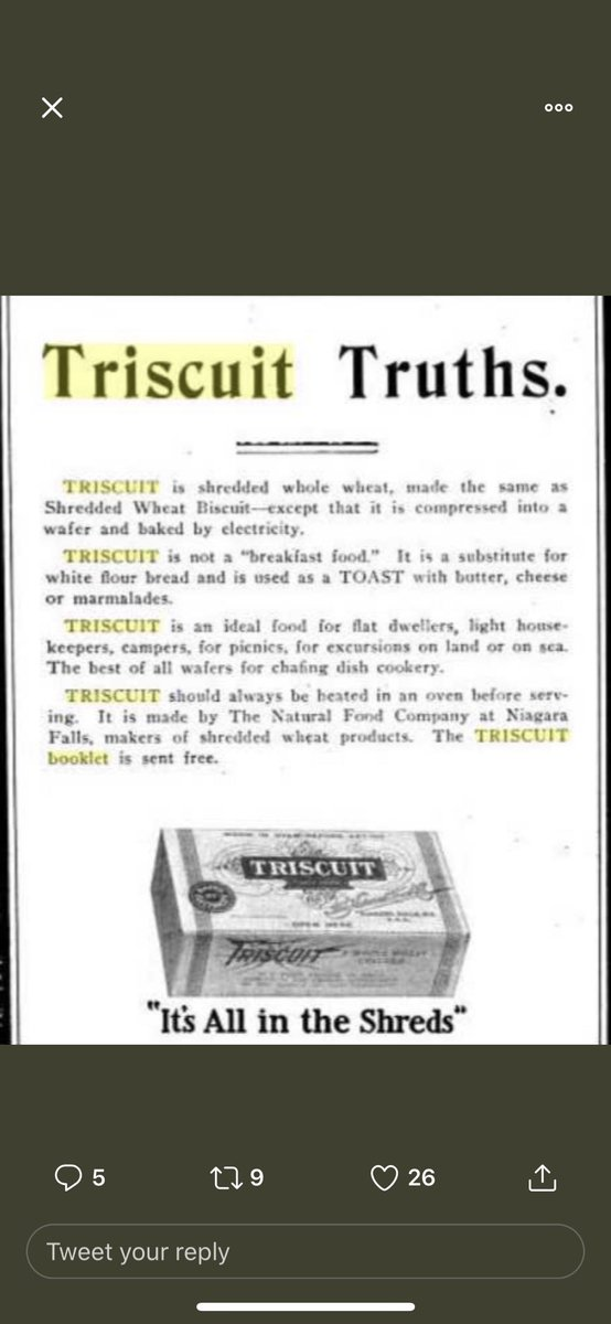 Fun fact!!!   Triscuits are actually made by elecTRIcity hence the name Triscuits ( electricity biscuit )   You are supposed to heat them before you eat them. <br>http://pic.twitter.com/0qbMg810cz