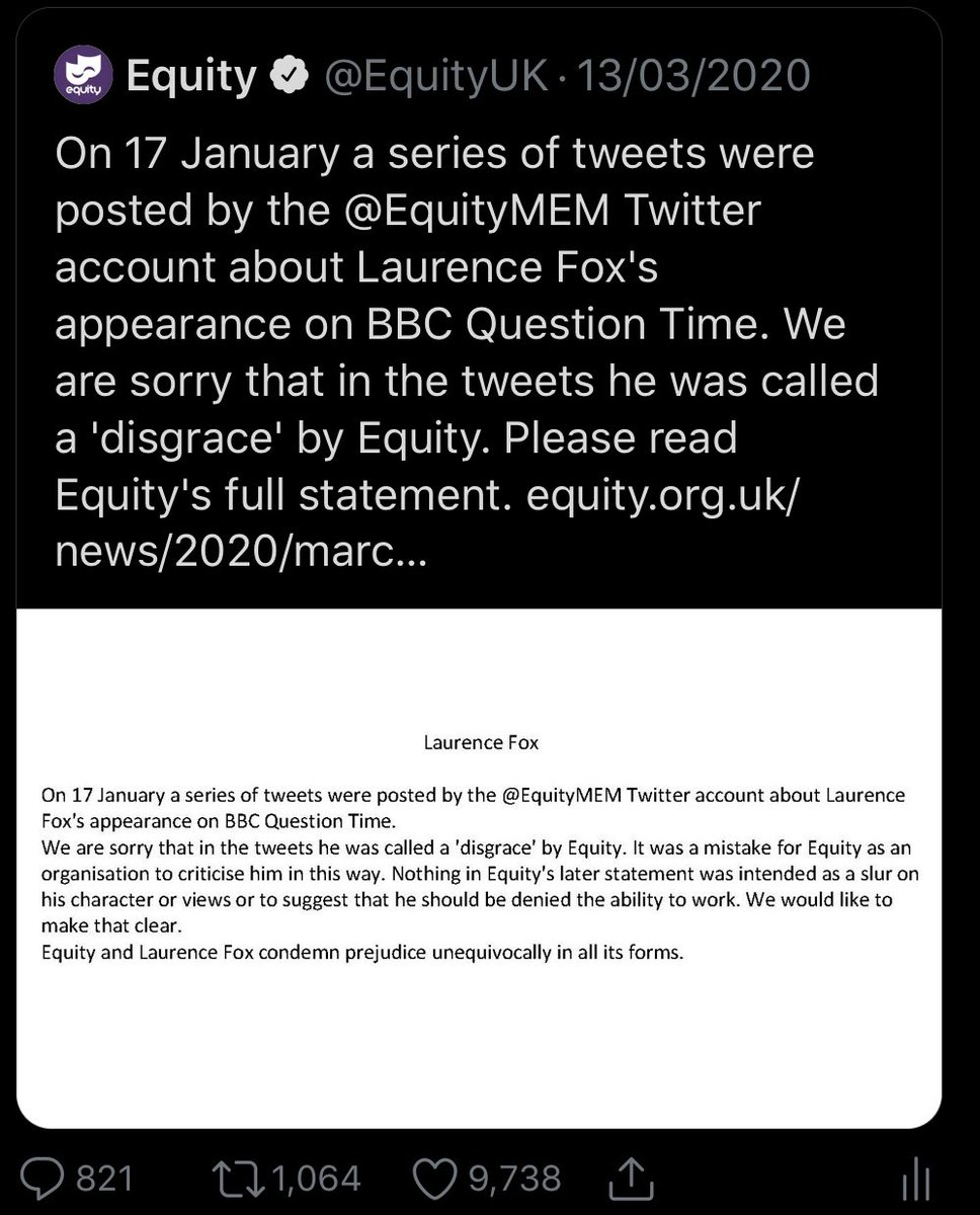 Hey @EquityUK can I ask why you have deleted this tweet from your feed and also removed the statement from your website? Thank you. twitter.com/equityuk/statu…