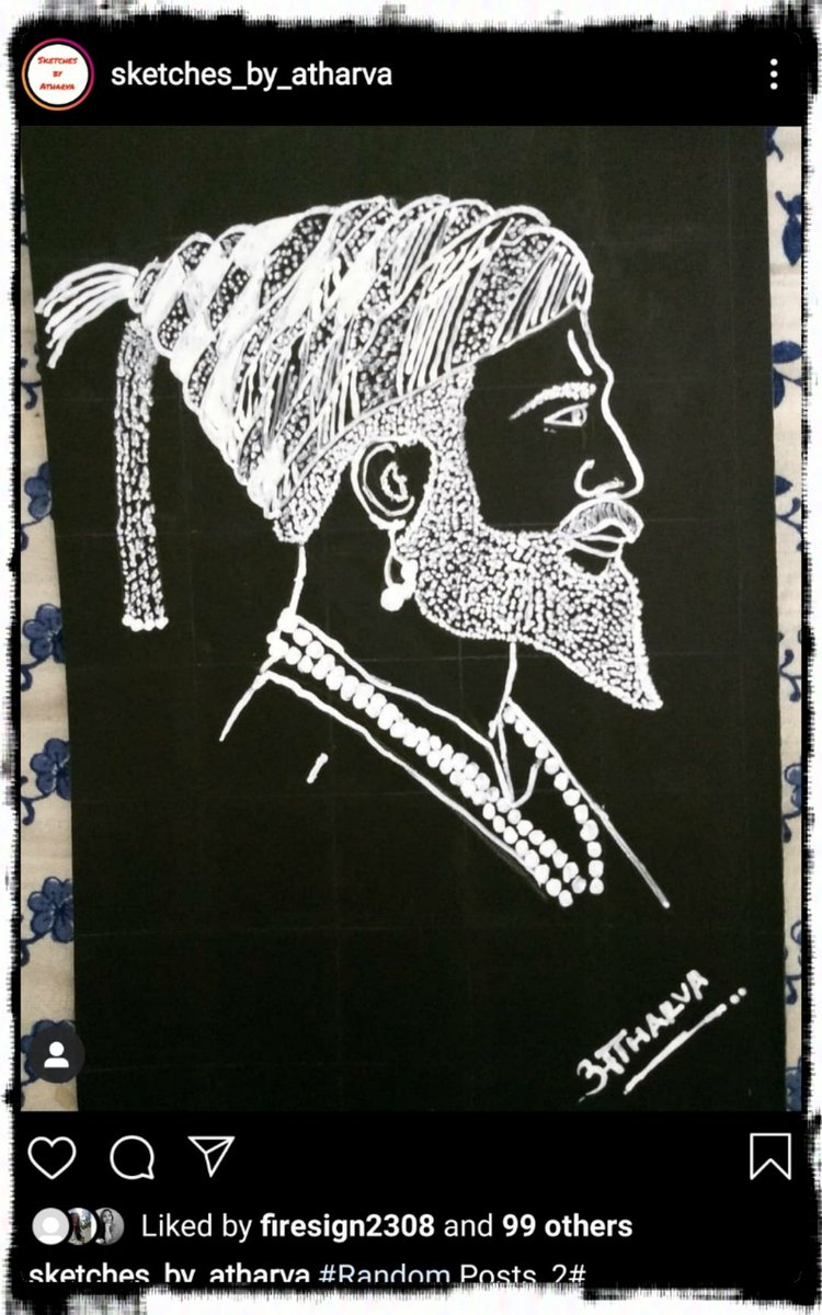 100 Likes for my Chhatrapati Shivaji Maharaja's Sketch..  #shivajimaharaj #chhatrapatishivajimaharaj #shivraypic.twitter.com/R2vJRtspJz