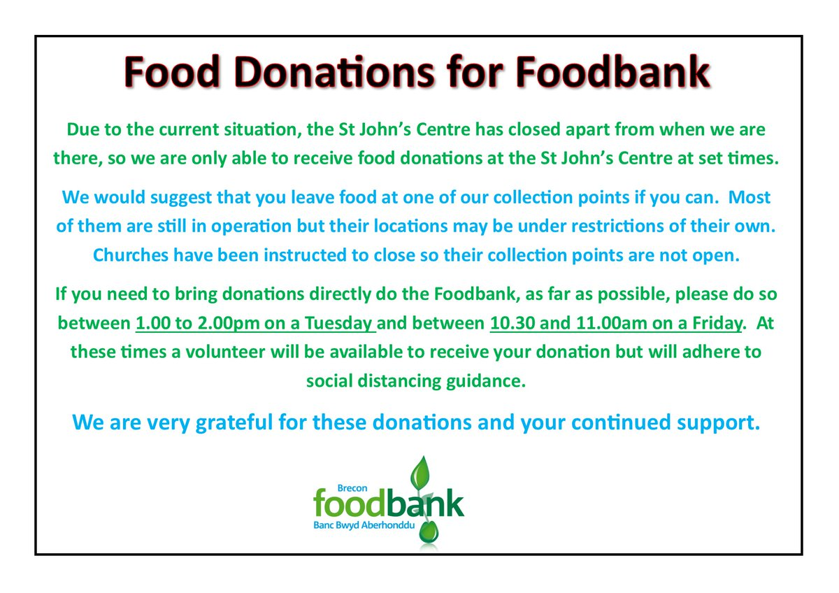 Important information about Food donations.