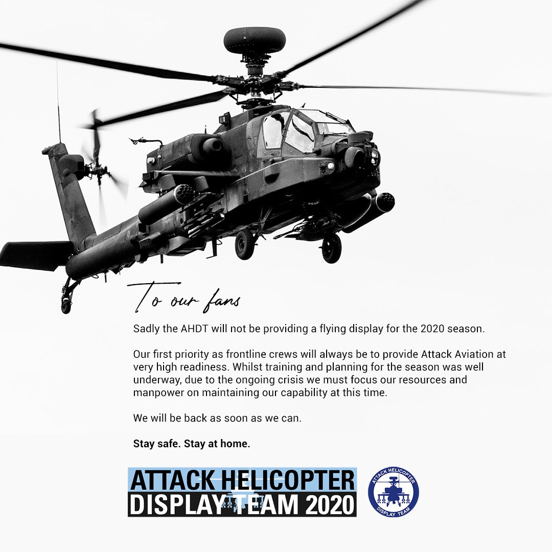 Sadly the AHDT won't be providing a flying display for the 2020 season.⁣ ⁣ Our first priority will always be to provide Attack Avn at very high readiness. We must focus our resources on this capability.  We'll be back as soon as we can.⁣ ⁣ Stay safe. Stay at home. https://t.co/dPC9B2ehl0