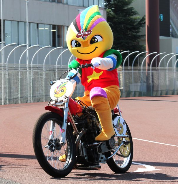 Kiratto is the rainbow-haired daredevil mascot for Japan's Isezaki Auto Racing Center.