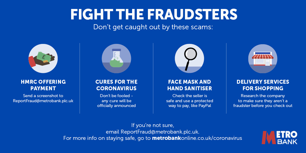Metro Bank On Twitter Scammers Are Using The Coronavirus To Try And Cheat You Out Of Your Money Don T Get Caught Out Get Clued Up Below And Visit Https T Co Ckofyluafs To Beyourownhero In