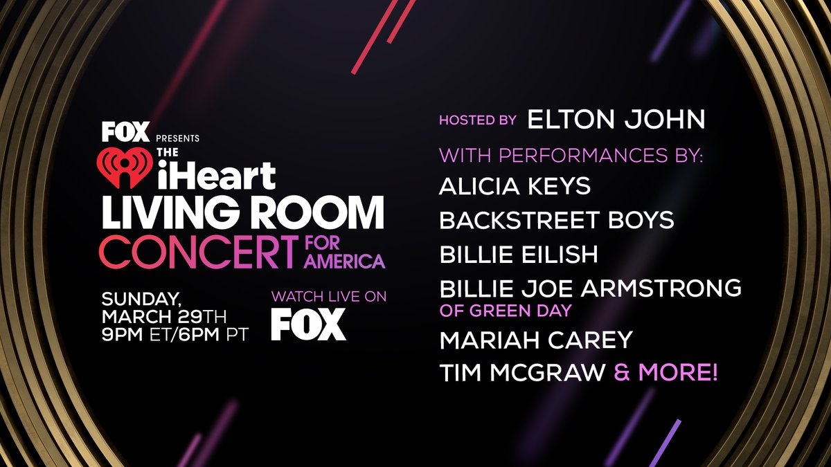 Sunday night! Join us as we partner with @FeedingAmerica, @1strcf, and @FOXTV in presenting the iHeartRadio Living Room Concert For America. ❤️  We are using the power of music to help support those in need & honor those on the front lines fighting the virus. #iHeartConcertOnFOX
