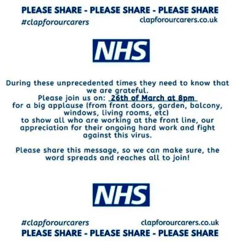 Let's show our huge appreciation for the wonderful folk that work in our NHS 👏🏻👏🏻👏🏻
