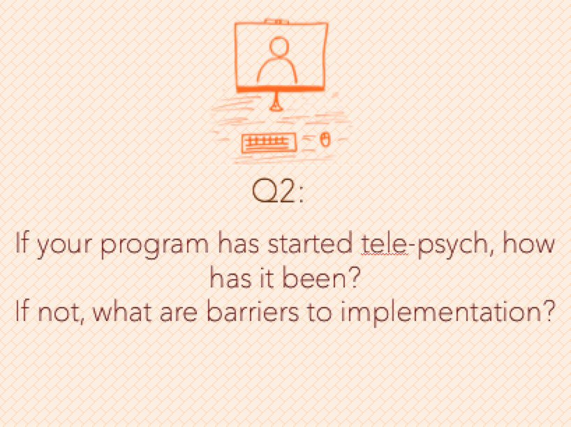 Q2: If your program has started tele-psych, how has it been? If not, what are the barriers to implementation?