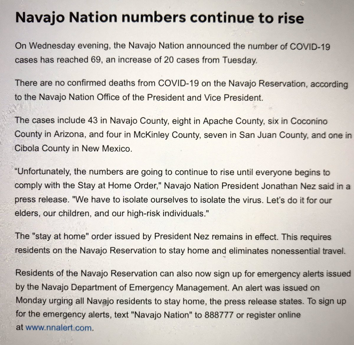 Here in #Arizona, numbers increasing and the Navajo are the worst hit community so far. #COVID19