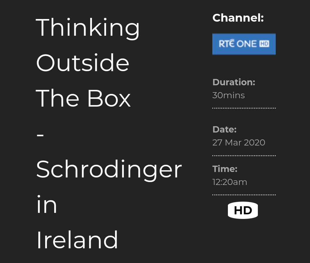 test Twitter Media - On tonight!  Don't miss your chance to see this fascinating documentary about Schroedinger's time in DIAS and the  seminal discovery it lead to. Not forgetting he was DIAS' first Director of Theoretical Physics.  @RTEOne  #DIASdiscovers #schrodinger https://t.co/Sjeogi92EY