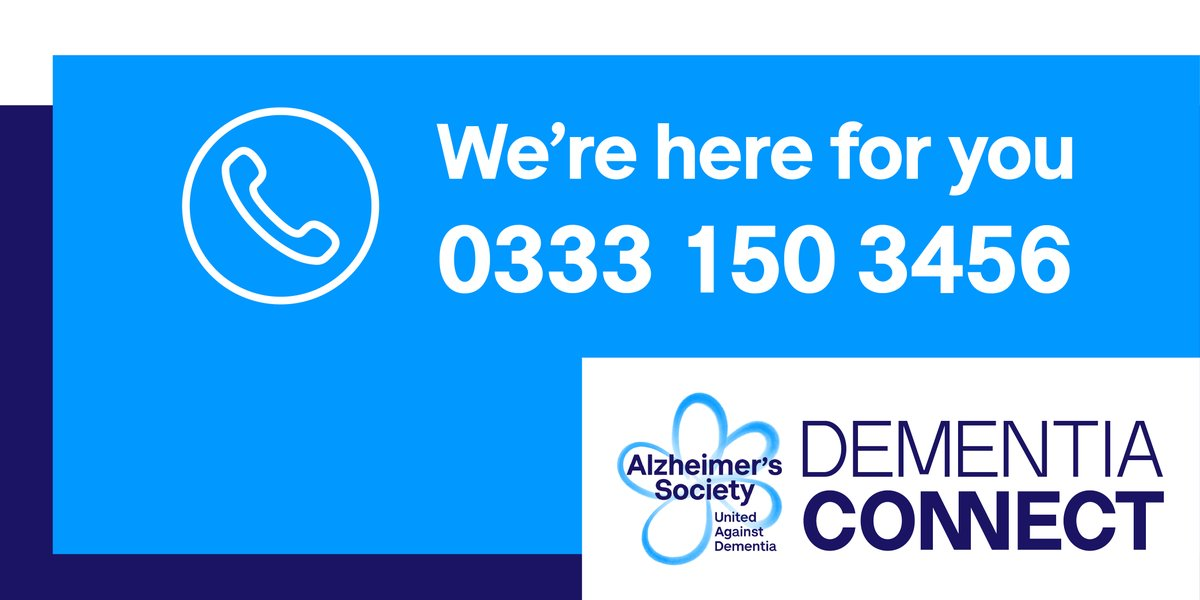 We know this can be an especially difficult time if you are affected by dementia, so we want you to know that Alzheimer's Society is here for you.  If you need advice, please call our Dementia Connect support line on 0333 150 3456, available every day. Were here to help 💙
