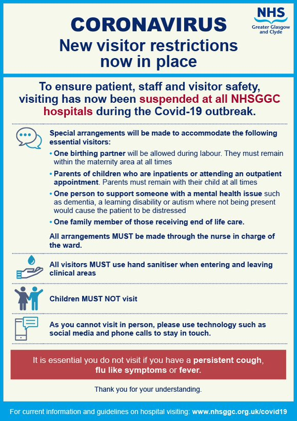 Please note updated information on visitor restrictions from @NHSGGC hospitals at this time.   #stayhomestaysafe #werewithyou