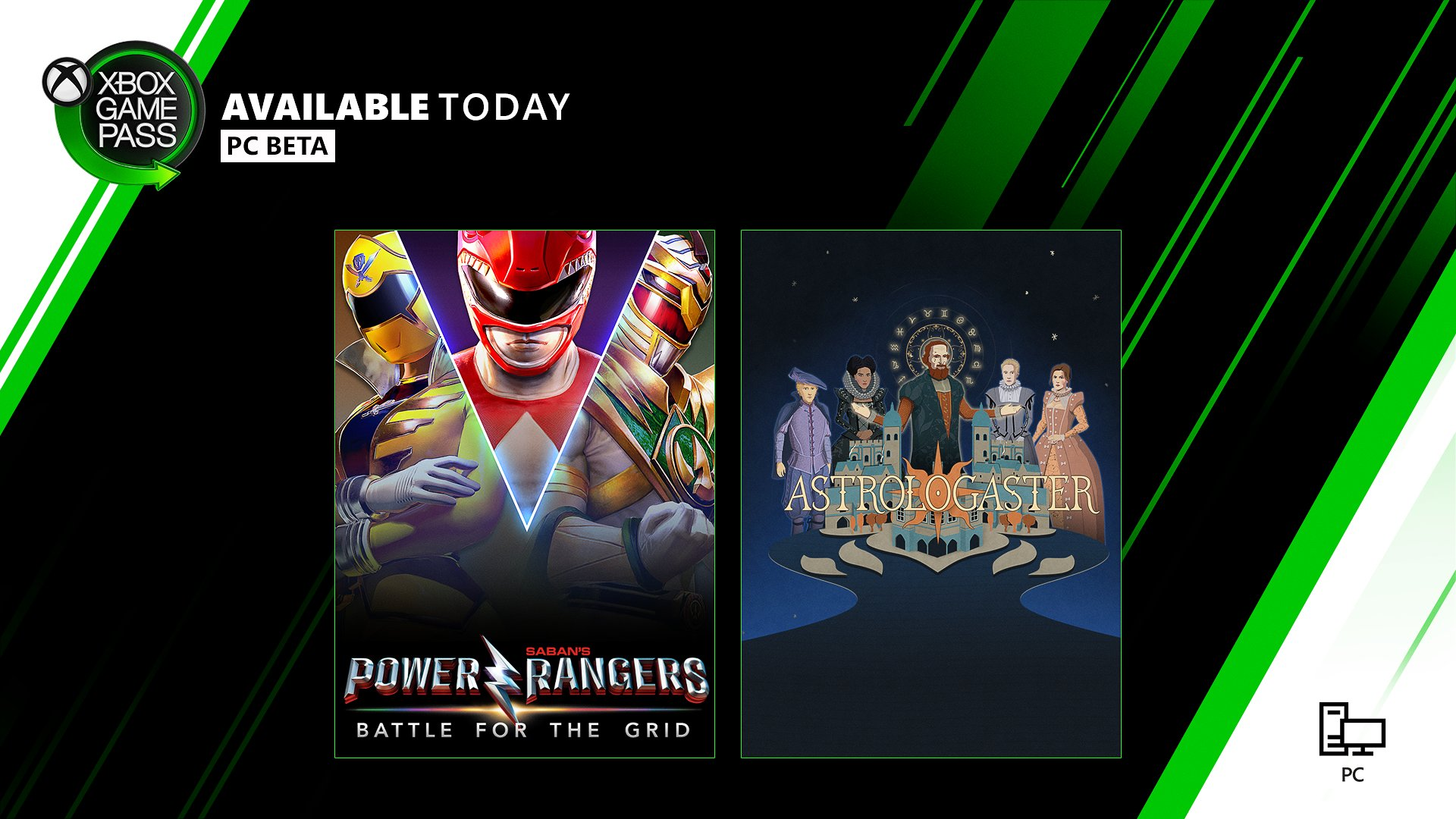 The box art for Power Rangers: Battle For The Grid and Astrologaster are placed against a white, green, and black background. The Xbox Game Pass Logo sits in the top left corner of the image. Text Reads: Available Today. PC Beta.