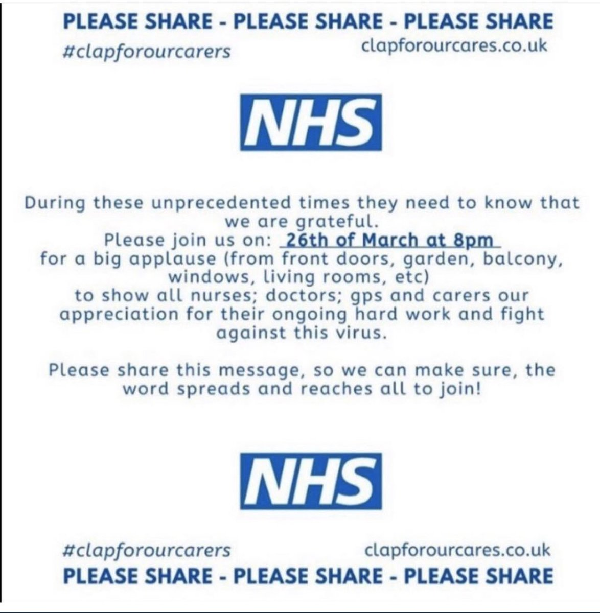 Don't forget to join the country tonight to #clapforNHS at 8pm. The doctors which are on the frontline dealing with this #pandemic are truly amazing people #ClapForCarers