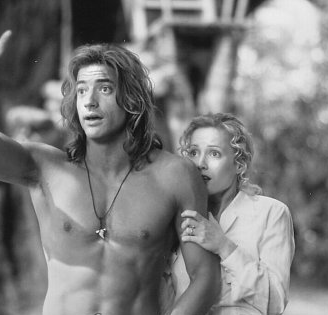 """Happy birthday to Leslie Mann, seen here with Brendan Fraser in \""""George of the Jungle\"""" from 1997."""
