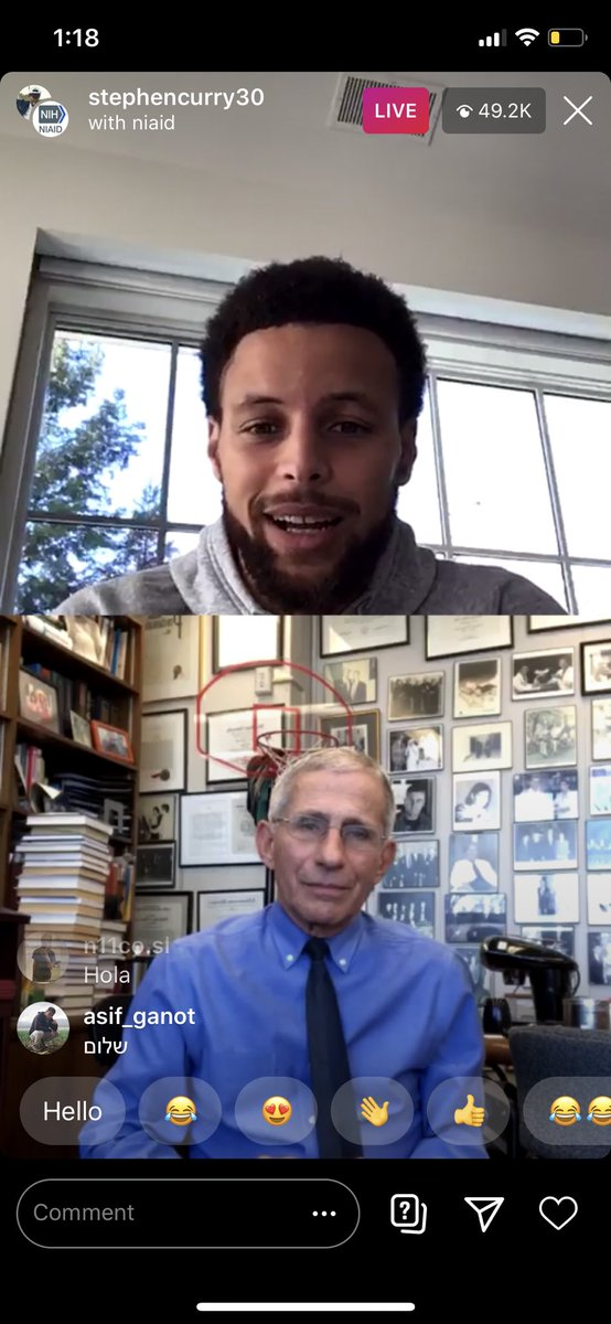 There are 49,000 people watching @StephenCurry30 and Dr. Fauci on Instagram live right now