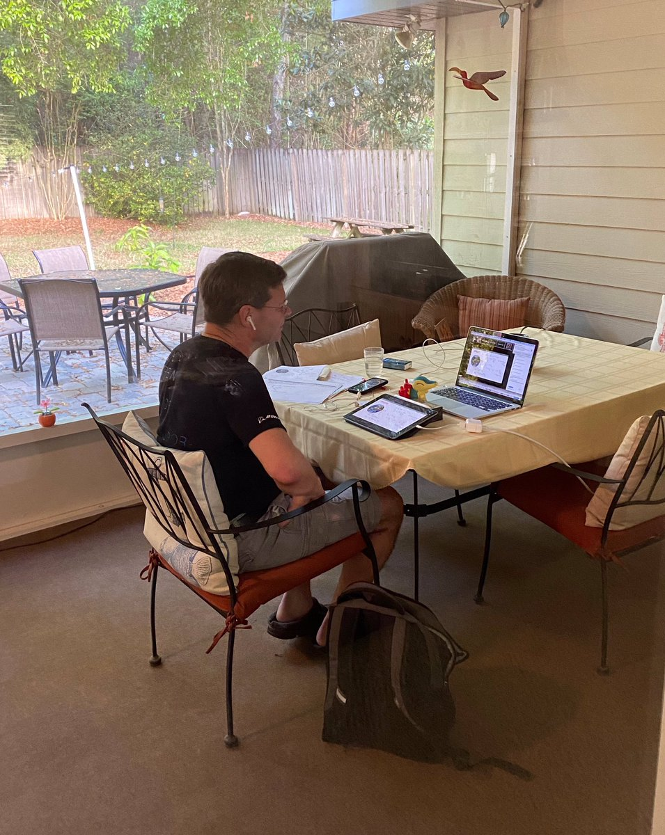 Teaching online physics lectures from my back patio office! #PhysicsHomeOffice