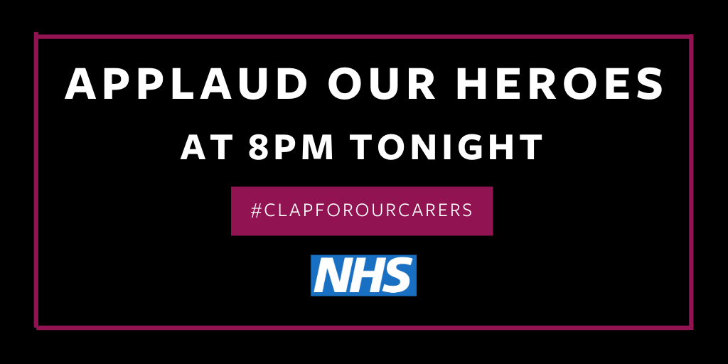 Join us at 8pm tonight as we say a big thank you to our NHS heroes for all their ongoing hard work and bravery on the front line. Share this message to encourage as many people as possible to take part. #clapforourcarers #supportNHS #thankyou #bigroundofapplause #wearerodericks https://t.co/Uc1abWBQ3w