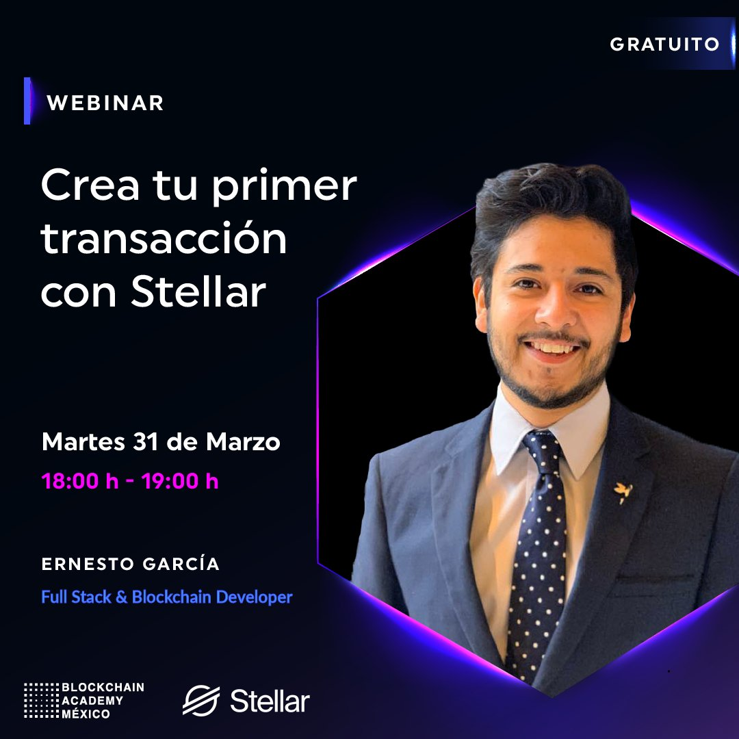 Join Blockchain Academy México (@blockdemy) on March 31 for an introduction to transactions on #Stellar. Learn how to build your first transaction from start to finish!You can register for this free webinar below:https://t.co/GT8Aa1EOFm#Developers #StellarDevelopers