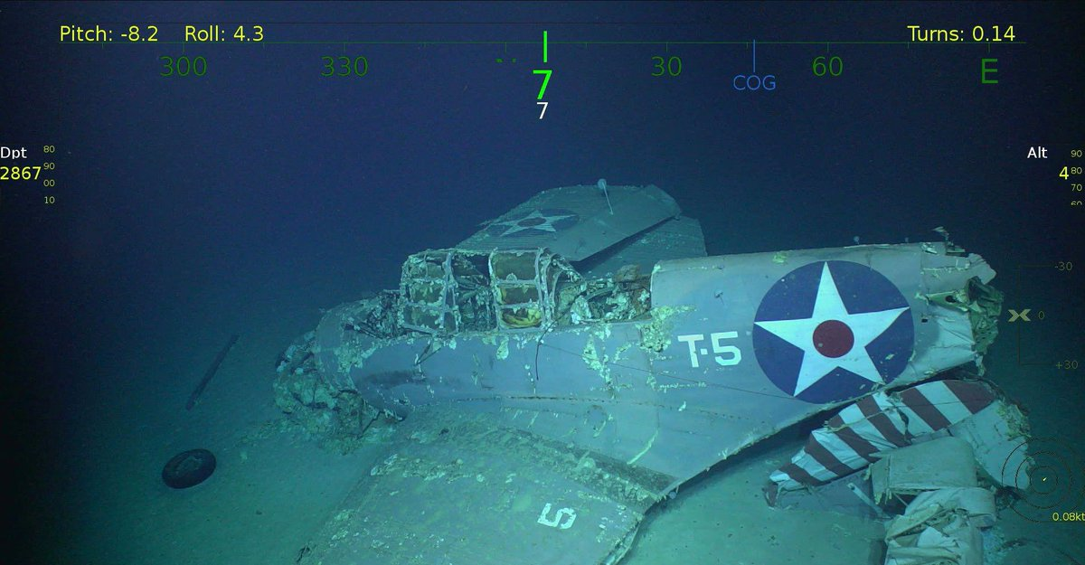 In 2018, a Douglas TBD Devastator was found in the wreckage of the USS Lexington. Even after 76 years in the water at 10,000 feet of depth, the structure and paint still holds up incredibly well!   #naaedu #tbddevastator #usslexington #aviation #aircraft #history #aviationhistorypic.twitter.com/J1YAfkdw75