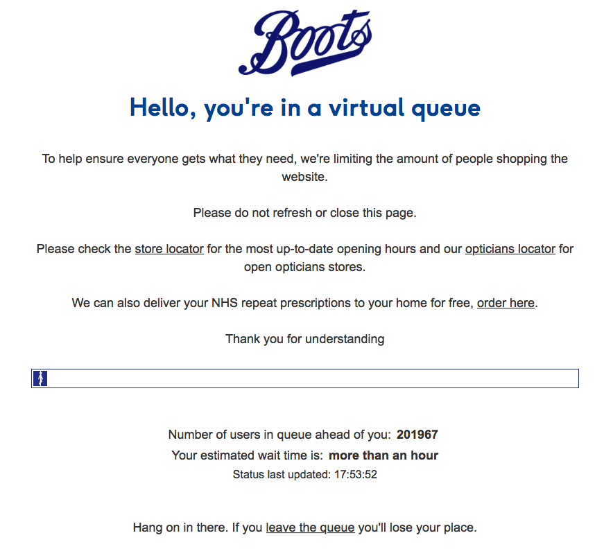 Just tried logging on to @BootsUK again. I am 201,968-th in the queue.🤦🏼♀️