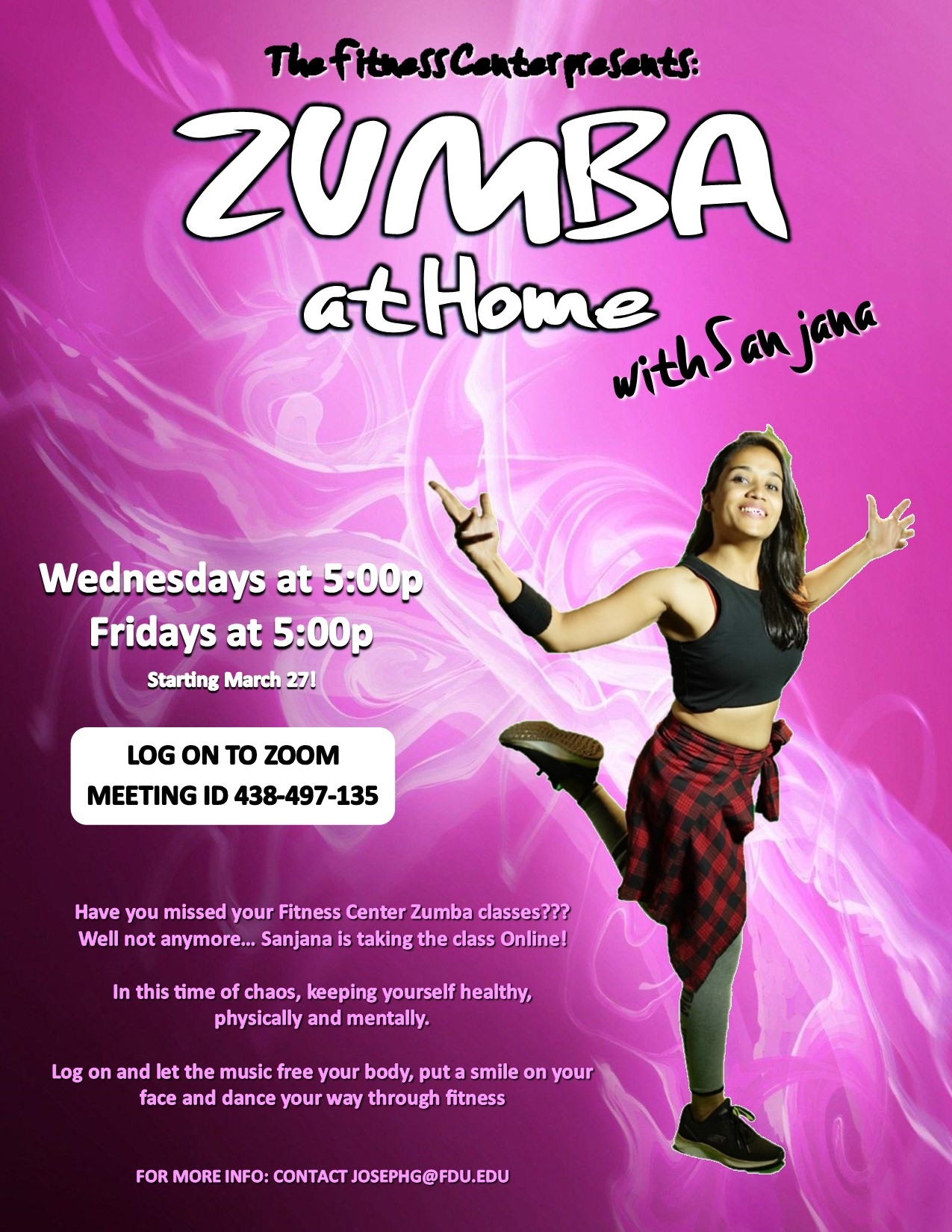 Fdu Fitness Center Intramurals Sur Twitter Have You Missed Our Zumba Classes Well Not Anymore Sanjana Is Taking The Class Online Zumba At Home With Sanjana Class Will Be Held
