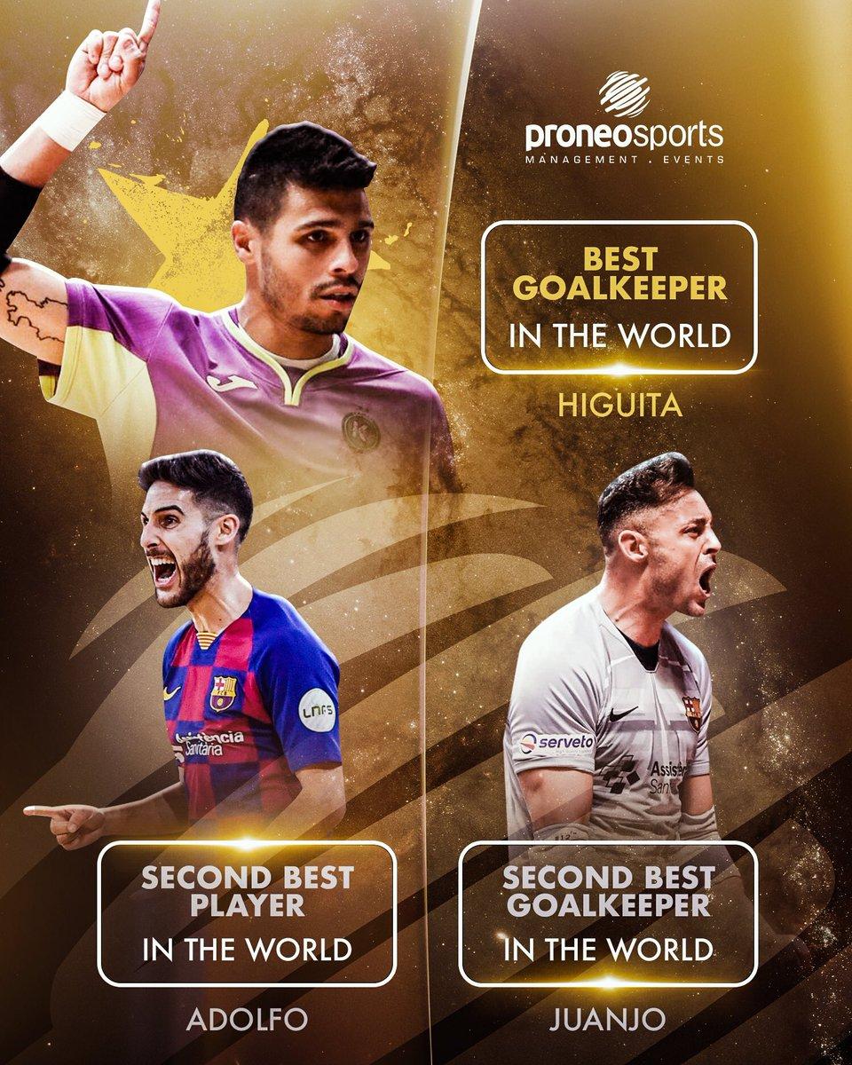 Ahí va nuestro podio en los Futsal Awards 2019 🤩  ¡ENORME CHICOS! 💪  🥇 @leohiguita  🥈 Juanjo Angosto 🥈 @Adolfitoo7   #ProneoFutsal