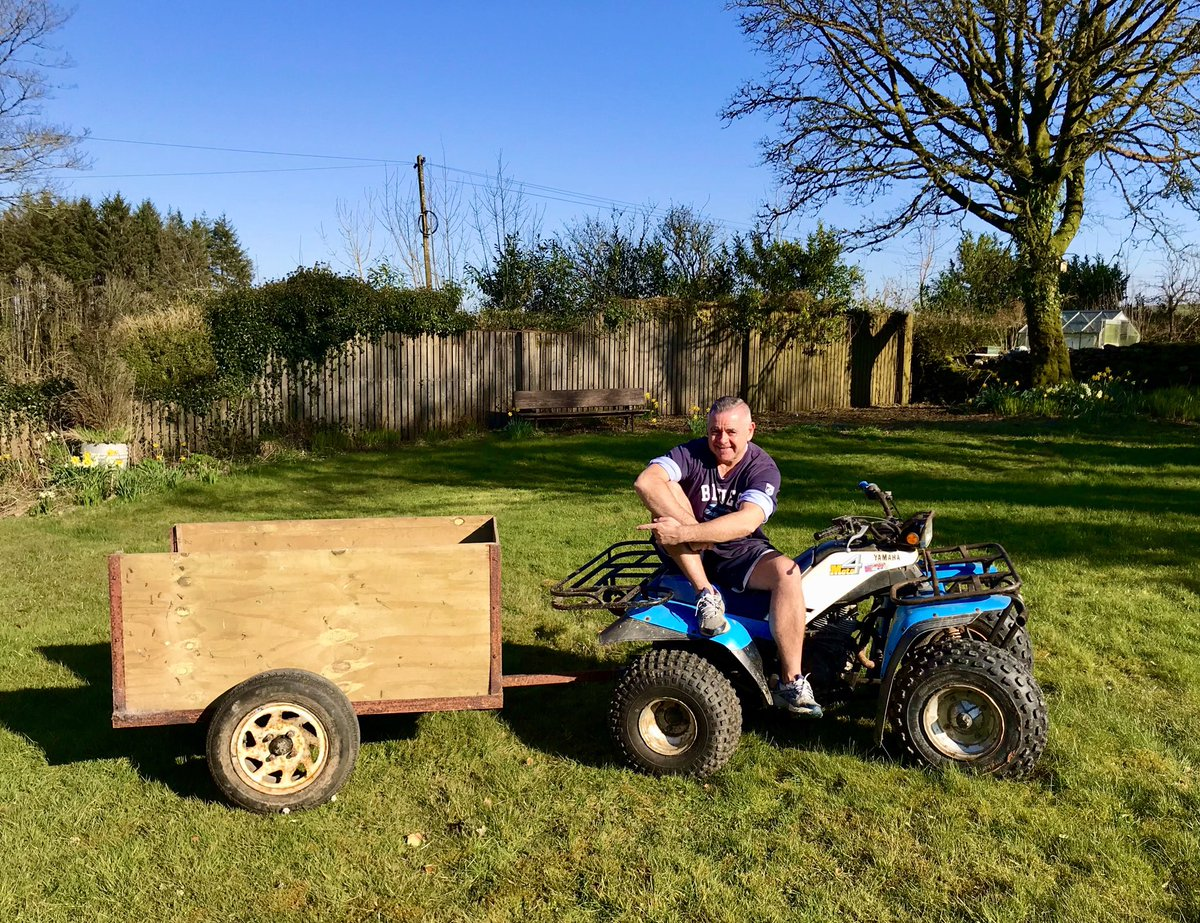 So with all this time on my hands these days I thought WHAT could I do today? So I built this quad trailer with dad  (who lives on the farm too)in order to take round supplies to the elderly and those who can't leave their houses in lockdown  #result #thinkpositive #chuffedpic.twitter.com/JXnh3JsoDF