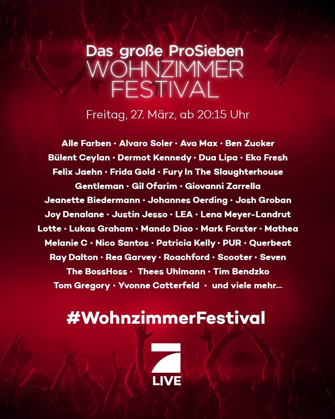 """ProSieben on Twitter: """"#WohnzimmerFestival. Morgen. """""""