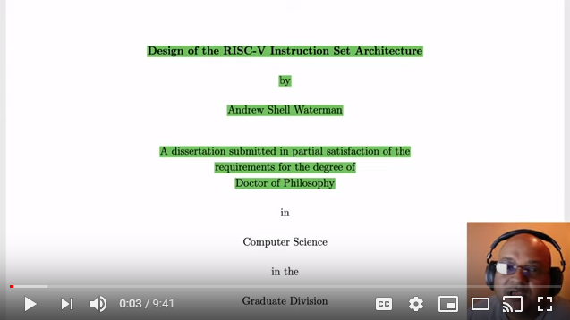 Risc V On Twitter Vivekhaldar Takes A Deep Dive Into The First Couple Of Chapters Of The Dissertation Titled Design Of The Risc V Instruction Set Architecture Written By Andrew Waterman Of Sifive Watch