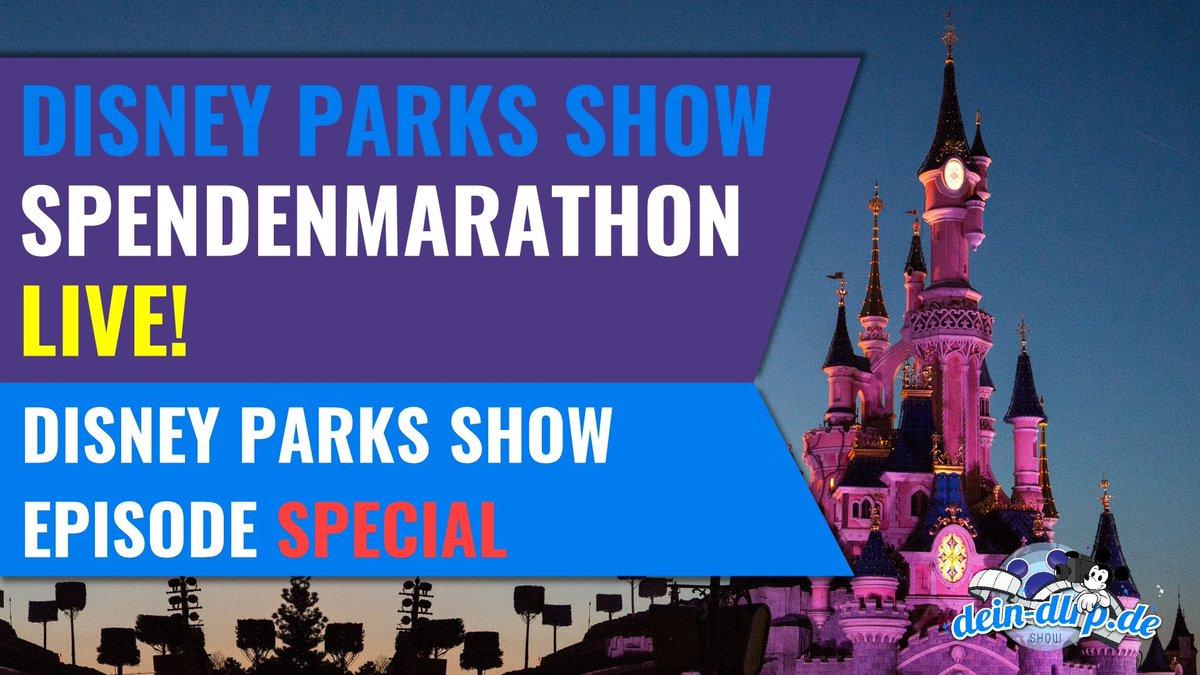 Der #DisneyParksShow Spenden-Marathon   Am kommenden Sonntag starten wir eine ganz besondere Ausgabe der Disney Parks Show – ab 15:00 h werden wir zum ersten Mal live bei YouTube sein, und das mit vielen tollen Gästen!   Das Wichtigste an der Show ist der Spendenmarathon! pic.twitter.com/BZW1aRG6zc