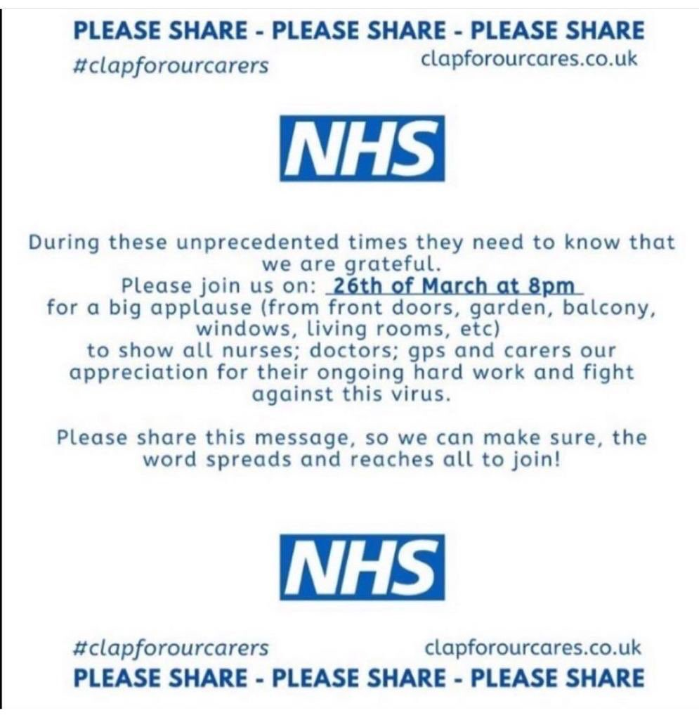 Not long now to join in to show how much we appreciate our NHS workers! #clapforNHS #ClapForCarers #clapforourcarers #ThankYouNHS 👏